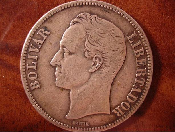 VENEZUELA 5 BOLIVARES 1935, NICELY AGED LARGE SILVER COIN