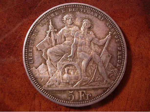 RARE SWITZERLAND 5 FRANCS 1883 SHOOTING FESTIVAL SILVER THALER COIN