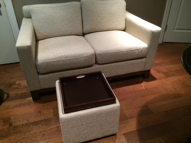 Condo size sofa love seat with storage ottoman by stylus vancouver city surrey - Ways of accessorizing love seats ...
