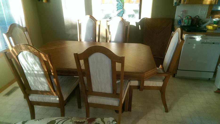 Canadian made california oak dining room table and