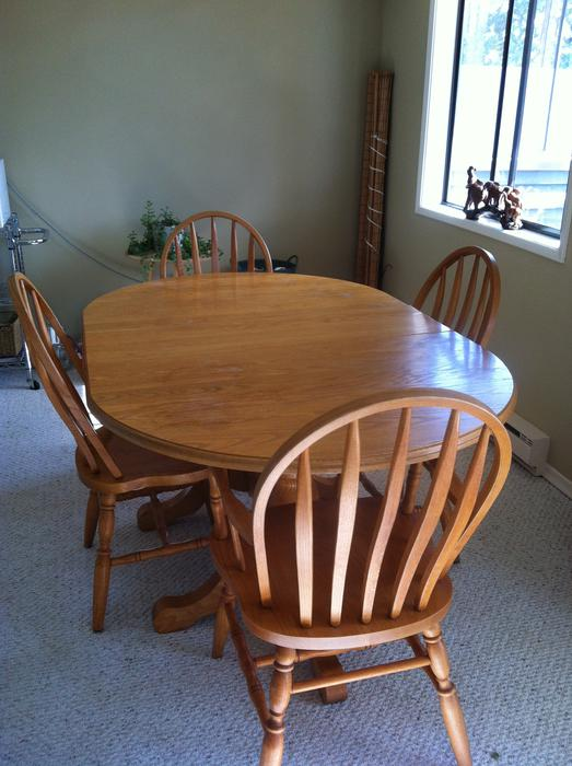 Solid Oak Double Pedestal Dining Table Amp 4 Chairs