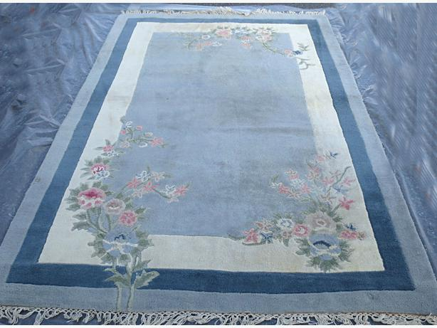 **Floral Blue and Grey Wool Carpet  -  Visa, MCard, Delivery