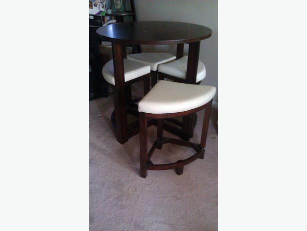 Compact Pub Style Table With Pie Shape Stools Kanata