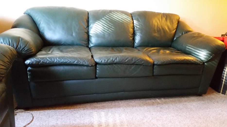 Forest Green Leather 3 Piece Living Room Set North Saanich