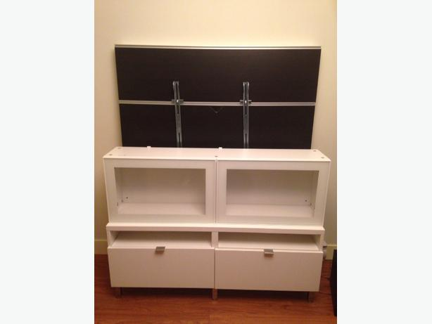 ikea tv stand tv wall panel above shelves and phillips soundbar and sub west shore langford. Black Bedroom Furniture Sets. Home Design Ideas