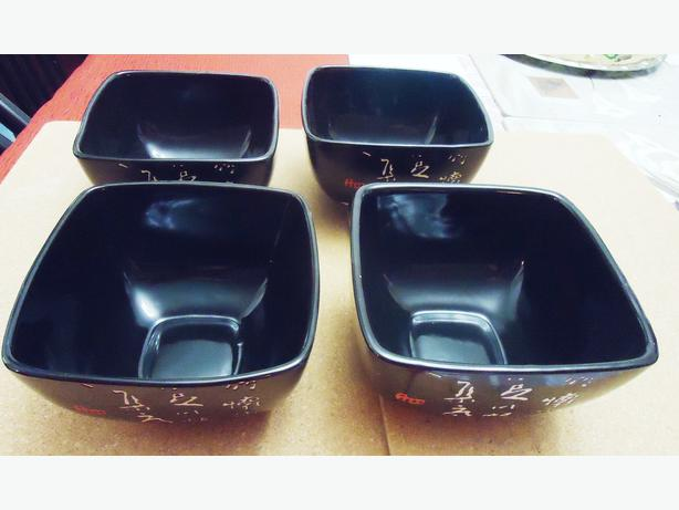 Dolce Vita by JA Designs (4) Black Ceramic Chinese Square Bowls