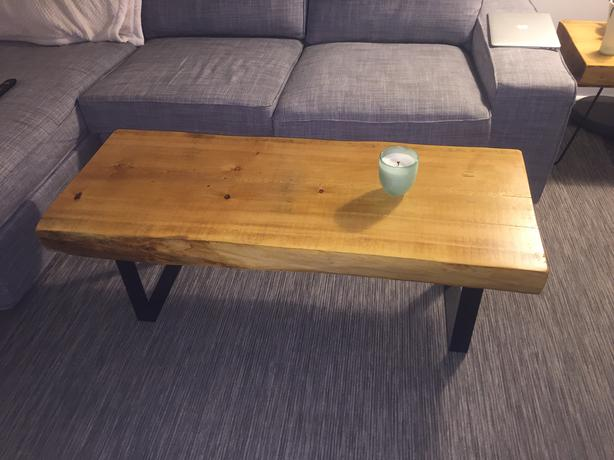 live edge coffee table - made from salvaged red pine downtown