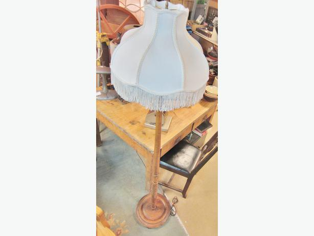 Vintage wood floor lamp with shade west shore langford for Used wood floor lamp