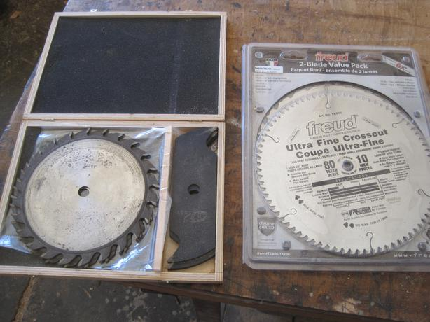 "Dado Blade Set and New 10"" saw blades"
