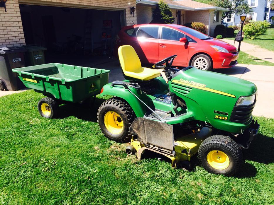 John Deere X495 Diesel Garden Tractor W Snowblower
