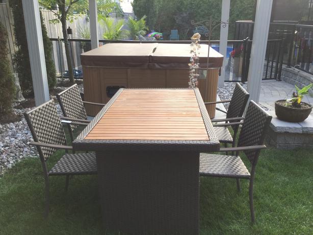 outdoor teak and woven resin wicker patio set gloucester