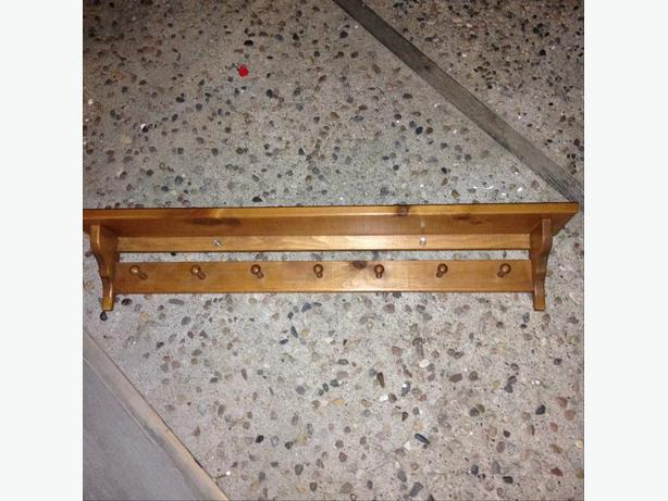 Pine shelf with hanging pegs south regina regina for Picture hanging pegs