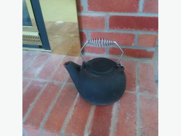 ANTIQUE  CAST IRON TEA  KETTLE 1868
