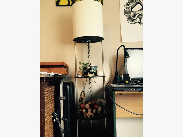 tall standing lamp with shelves saanich victoria. Black Bedroom Furniture Sets. Home Design Ideas