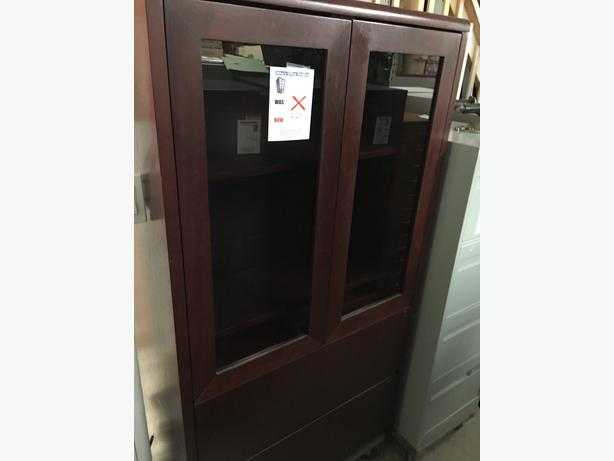 File/Storage Cabinet with 2 Glass Doors & 2 Drawers