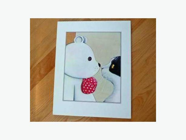 Teddy Bear & Cat Print