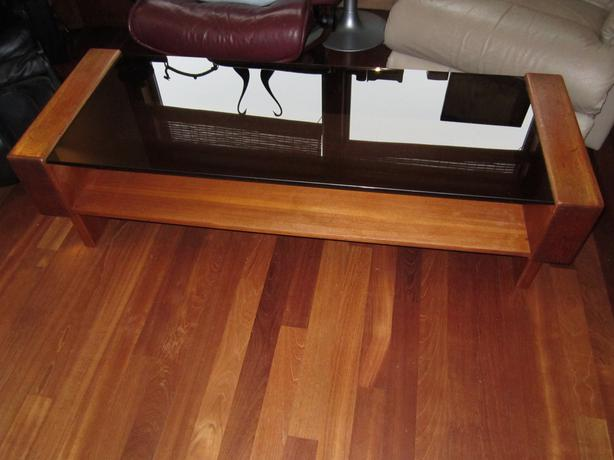 Exceptional Teak And Glass Coffee Table  1980s Funky!
