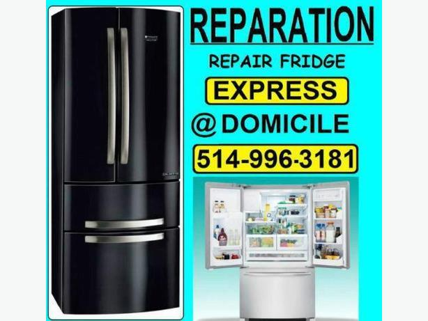 Montreal LAVAL appliance fridge repair 514 9963181 reparation refrigerateur