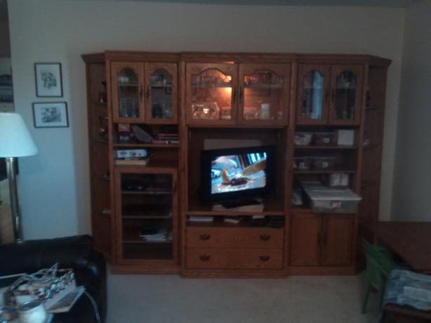 5 piece China cabinet and TV stand with 3 lighted section $300 ...