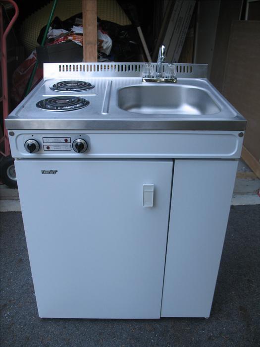 compact kitchen  bar fridge sink  stove allinone unit