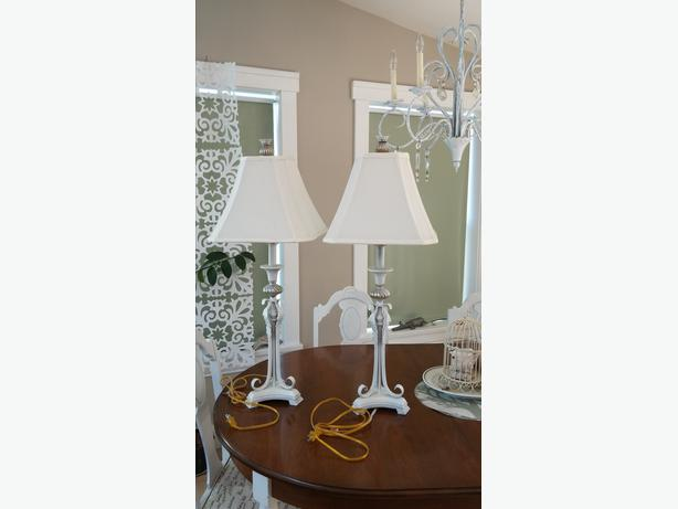 Charming Pair Of White And Silver Lamps From Home Sense
