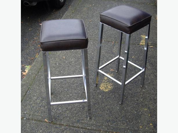 Each Modern Square Dark Brown Padded Bar Stool With