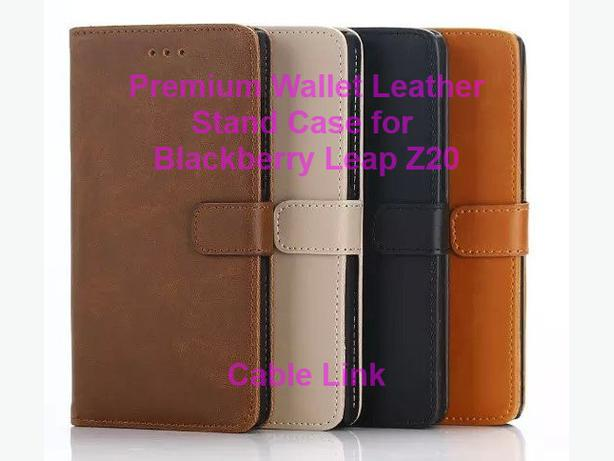 Premium Flip Wallet Leather Stand Case for Blackberry Leap Z20