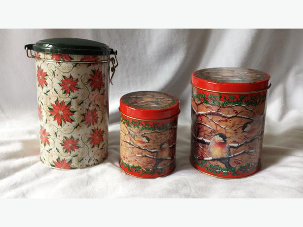 THREE CHRISTMAS CANNISTERS WITH LIDS