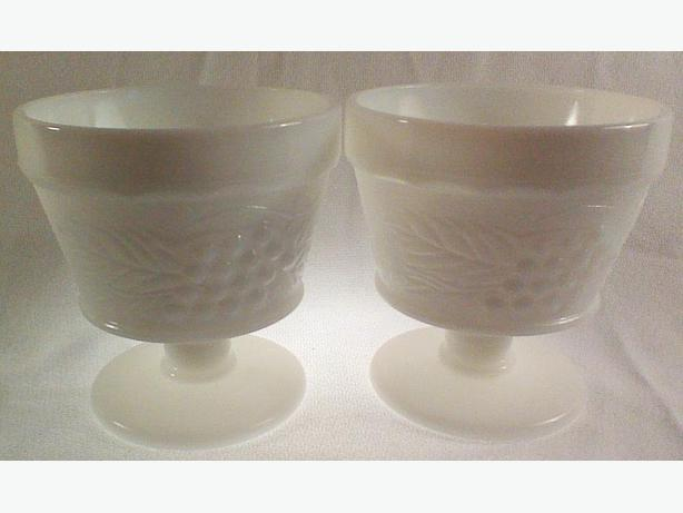 Grape milk glass footed dessert dishes