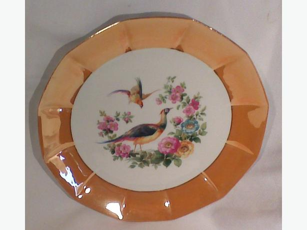 German porcelain pheasants lustre platter