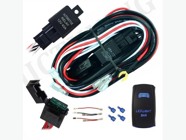 led light wiring harness  40 amp relay on  off blue rocker switch west shore langford colwood Engine Wiring Harness Truck Wiring Harness