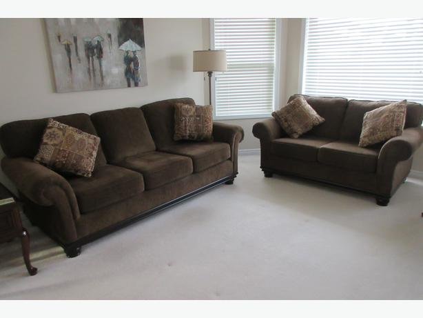 Matching Sofa And Loveseat And Four Throw Cushions North