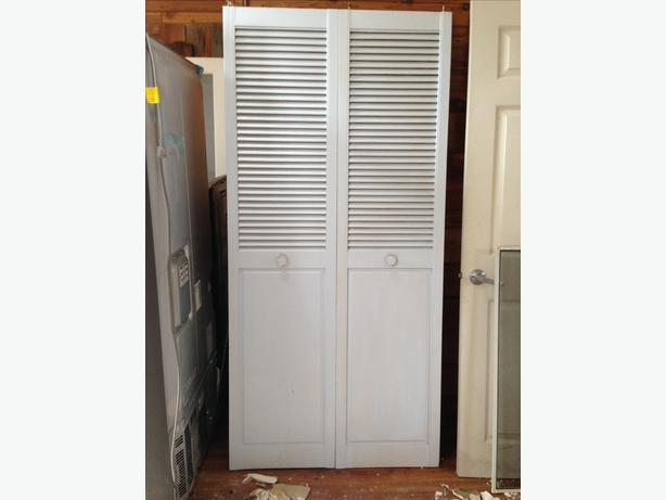 Plantation bifold closet doors masonite 24 in x 80 in plantation louver painted pine interior - Plantation louvered bifold doors ...