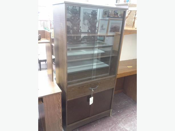 Simple One Piece China Cabinet (Reduced $28.00)