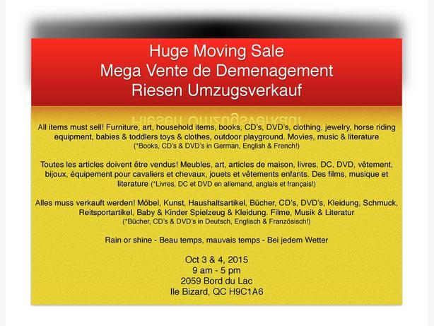 Huge moving sale mega vente de d m nagement riesen for Mega meuble montreal