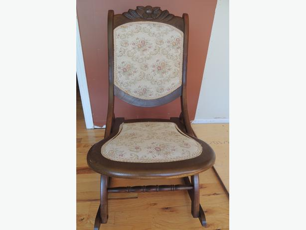rocking chair often known as a nursing chair. Soft Victorian pattern ...