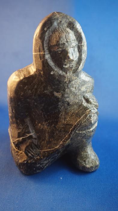 U c kneeling hunter soap stone carving faint markings on