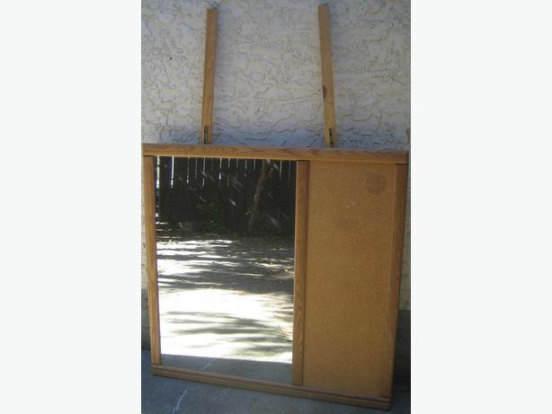 Dresser mirror with cork board