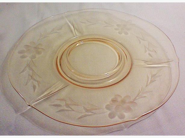"Amber ""cornflower"" glass serving plate"