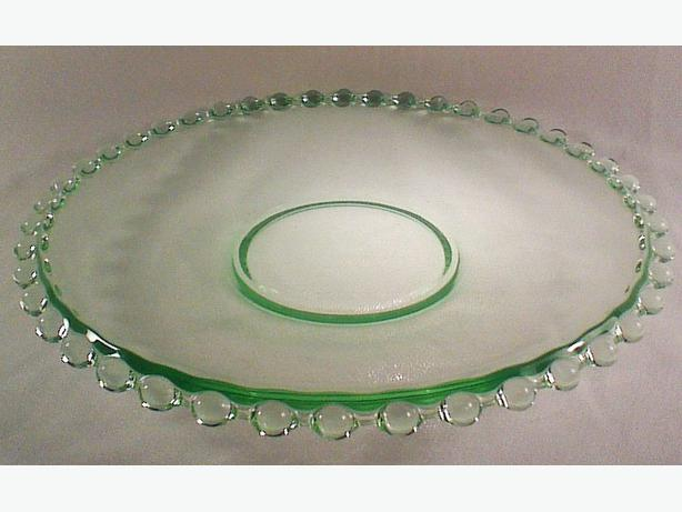 Green glass candlewick serving plate