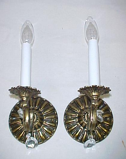 Matching Pr Vintage Solid Brass Electric Wall Sconces w/Prisms~Shades~Switches Ladysmith, Cowichan