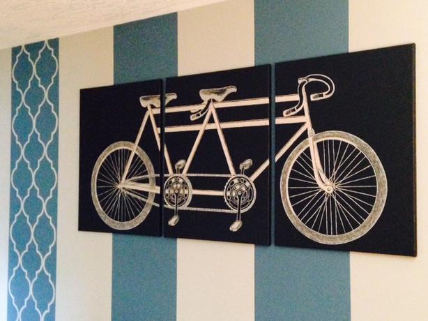 ~*~ Tandem Bike Triptych Painting~*~