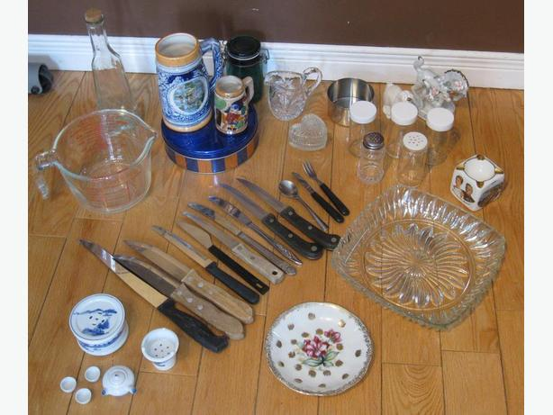 LOT OF KITCHEN STUFF - VINTAGE, PORCELAINE, CRYSTAL, ETC