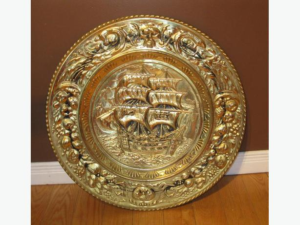 LARGE BRASS PLATE - SHIP