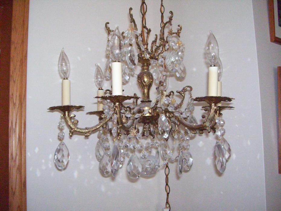 Several Large Vintage Genuine Crystal Chandeliers Outside