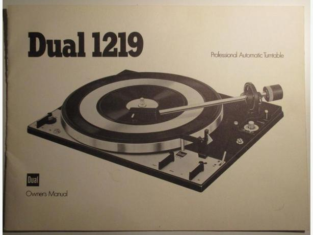 Dual 1219 Turntable Owner's Manual. English.