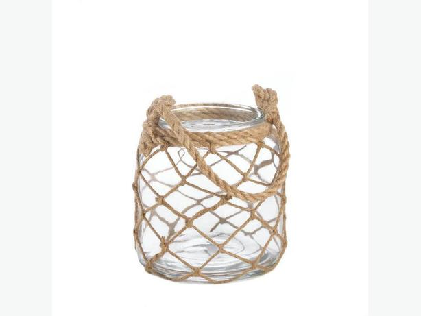 Small Fisherman Net Decorative Jar Candleholder 2 Lot Nautical Brand New