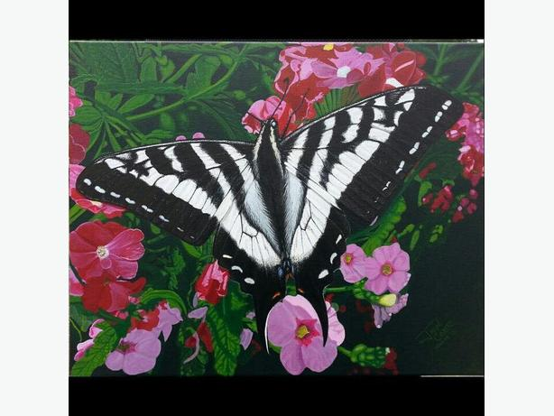 CAMP Original Painting_Butterfly on Hanging Basket_$1200 OBO