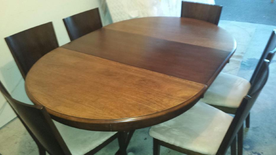 Solid Hardwood Extending Large round dining table amp 6  : 49496908934 from usedvictoria.com size 934 x 525 jpeg 43kB