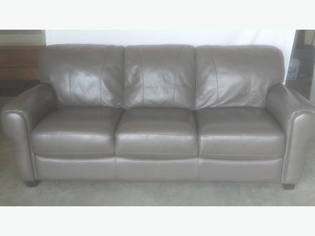 Graphite Grey Leather Sofa Mill Bay Cowichan